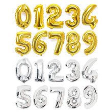 32/40inch Gold Silver Digital Foil Balloons Number 0-9 Helium Balloon For Birthday Party Wedding Anniversary Decoration Supplies