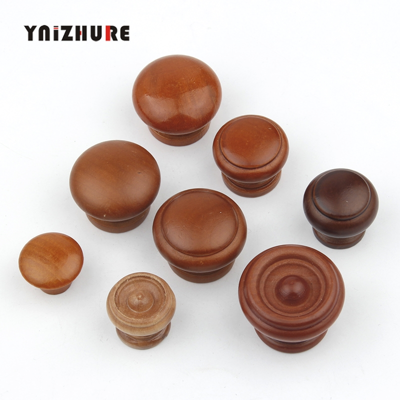 Environmentally Friendly Natural Wood Cabinet Drawer Pull Cupboard Handles With Screws Wardrobe Beech Round Door Knobs