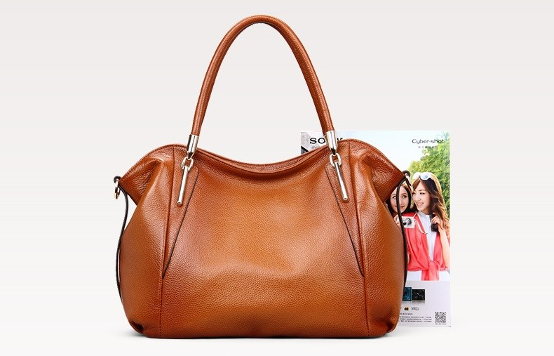 Vintage Women's Handbags Soft Genuine Leather Tote Crossbody Bag High Quality Cow Leather Shoulder Bags Female Brown Hand Bag 21