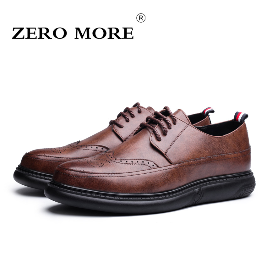 ZERO MORE Brand 2018 New Style Brogue Men Shoes, High Quality Casual Men Shoes, Design Casual Shoes Men #ZM129 zero more brand fashion men shoes casual black oxford shoes for men high quality soft leather men wedding shoes zm131