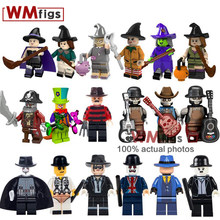 Single Halloween Witch Hat Broom Legoings Coco Guitar Vampire Freddy Horror Bricks Building Blocks Toys for Children Juguetes(China)