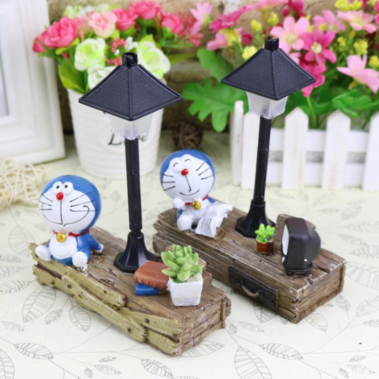 Doraemon Night Light Resin Cute Model Figurines Fairy Animal Miniatures Living Room Bedroom Garden Home Decoration Crafts Gifts in Night Lights from Lights Lighting