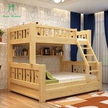 Двухъярусная кровать из цельного дерева для детей, деревянный верхний и нижний уровень для студентов