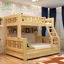 Cama de beliche de madeira maciça crianças de madeira superior e inferior nível estudantes lash combinação de flutuação