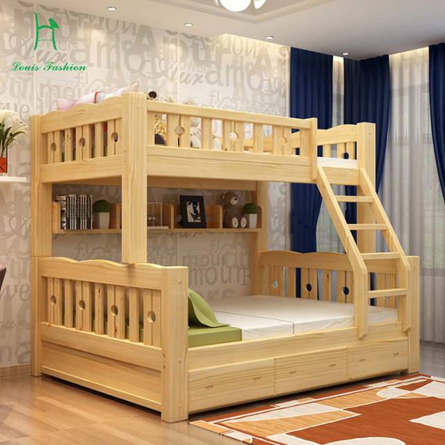 Solid Wood Bunk Bed Children Wooden Upper And Lower Level Students Lash Fluctuation