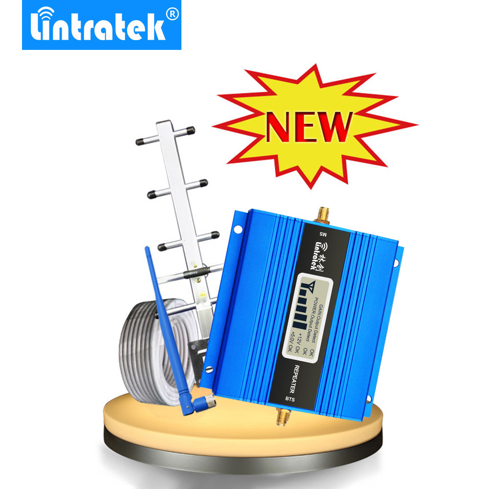 Lintratek LCD Display Mini GSM Repeater 900MHz Cell Mobile Phone GSM 900 Signal Booster Amplifier + Yagi Antenna with 10m Cable