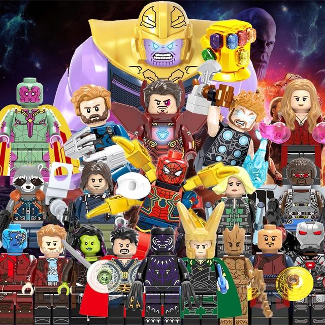 Legoings Vingadores Capitão Marvel Thanos Endgame Guardiões da Galáxia Spiderman homem De Ferro Figuras Building Blocks Brinquedos Foguete