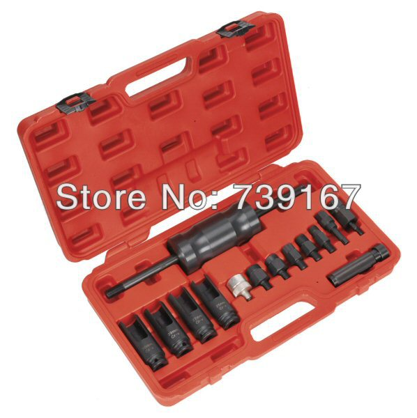 Automotive Diesel Engine Injector Common Rail Adaptor Slide Hammer Extractor Removal Puller Tool Set ST0052 230mm damaged injector washer removal tool seal extractor gasket puller