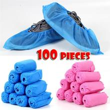 Shoe-Covers Elastic-Band Non-Woven-Fabric Disposable Anti-Slip 100pcs Thickened Dustproof