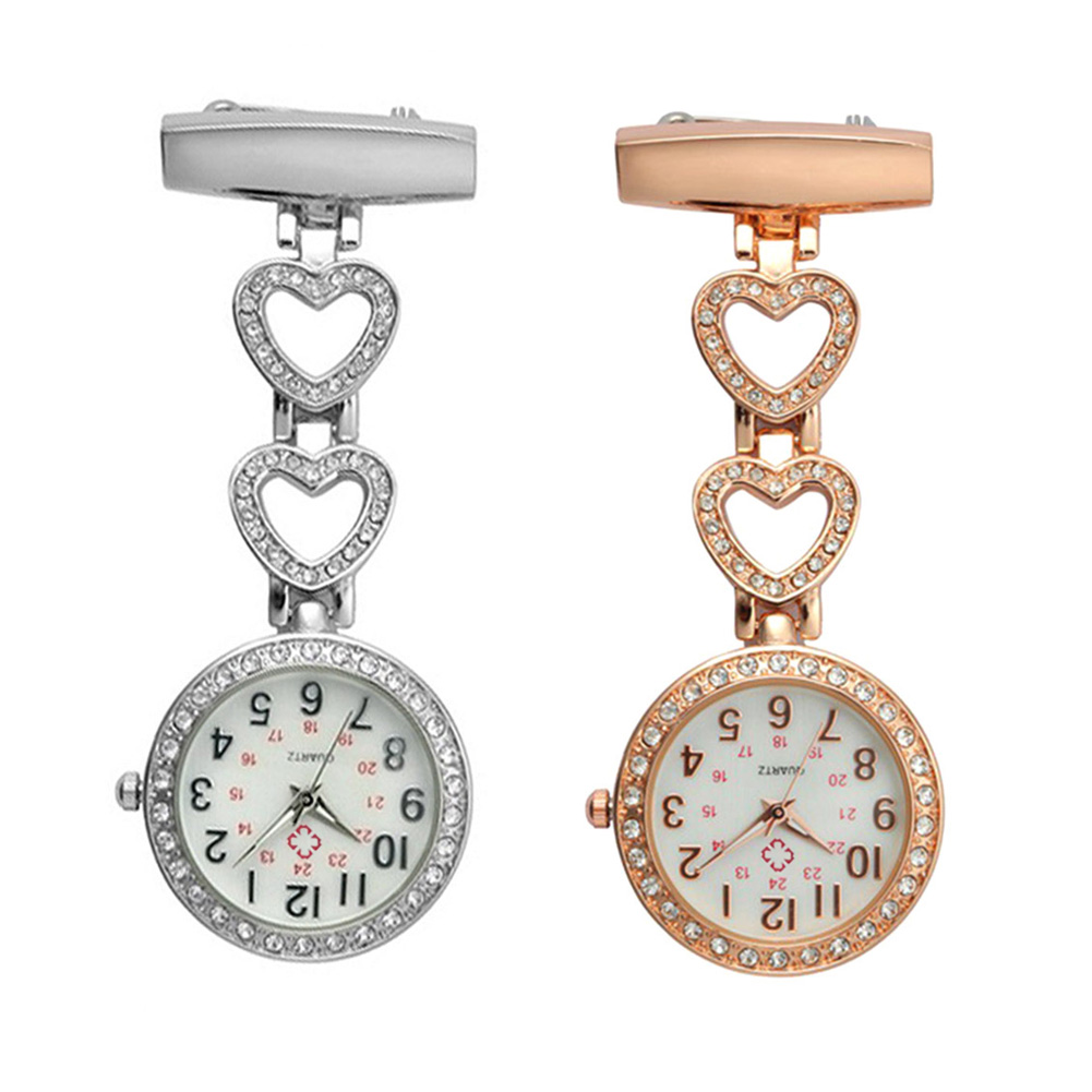 Fashion Women Pocket Watch Clip-on Heart/Five-pointed Star Pendant Hang Quartz Clock For Medical Doctor Nurse Watches AI