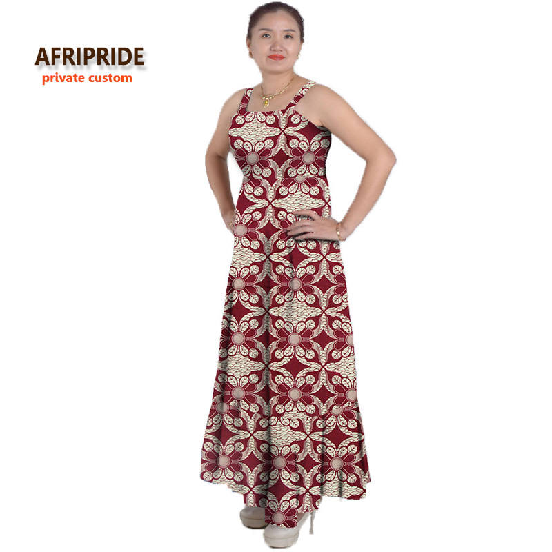 classic african ankara dress for women AFRIPRIDE tailor made sleeveless ankle length casual women cotton dress A622509
