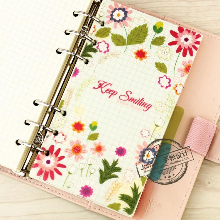 A5 A6 A7 Spiral Notebook Loose Leaf Transparent PP Separator Sidor - Block och anteckningsböcker - Foto 3