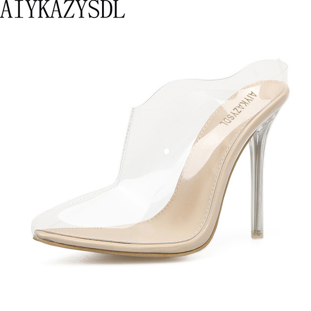 d0d30b921 AIYKAZYSDL Mulheres Sandálias de Verão Saltos Altos Claro Transparente  Bombas Sapatos Mule Slides Moda Roma Stiletto