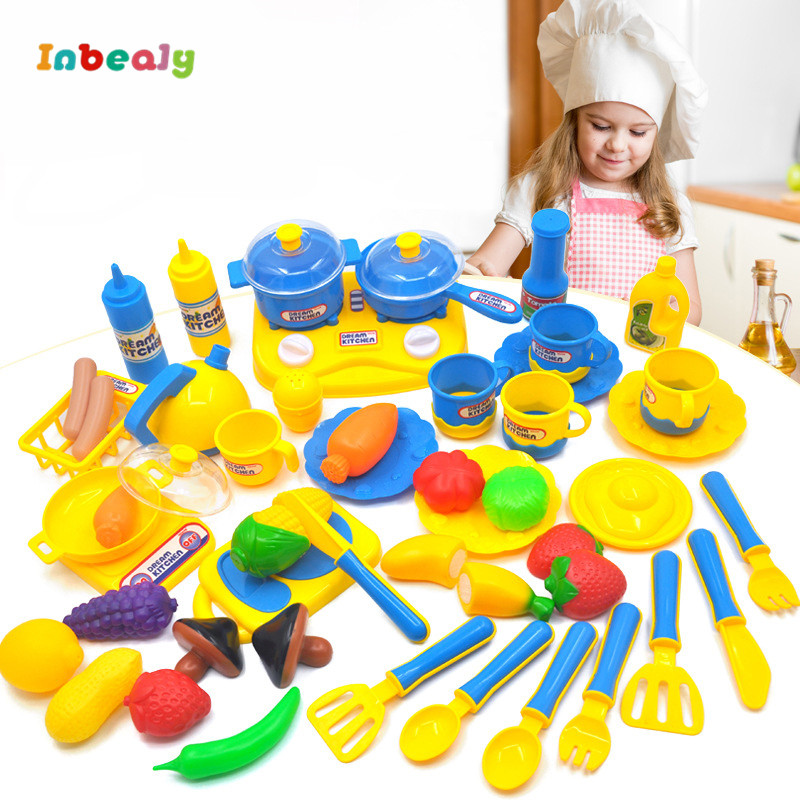 Inbeajy Kids Kitchen Play House Toys Pretend Play Children Cooking Simulation Kitchen Classic Toys Cut Fruits Set