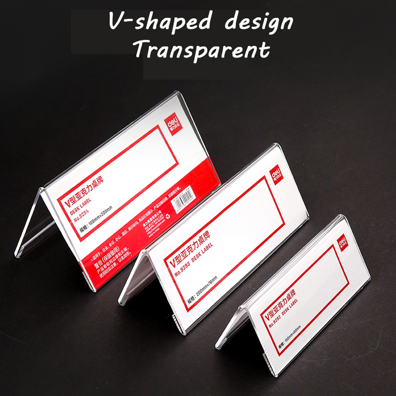 Купить с кэшбэком Deli V-type acrylic table card 9293 transparent double-sided price tag Card Holders meeting sign name card Note Holders
