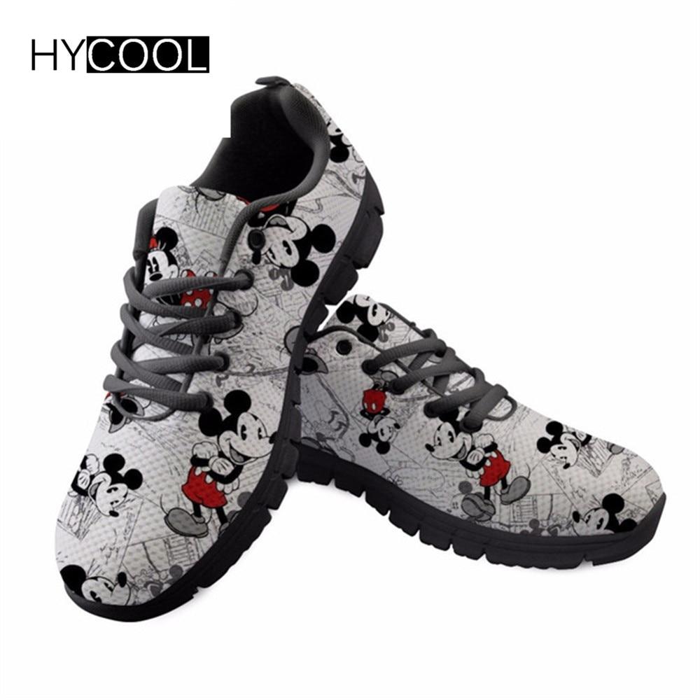 HYCOOL Cartoon Maus Muster männer Schwarz Laufschuhe Erwachsene Atmungsaktive Frauen Sportschuhe Turnschuhe Männlichen Athletic Training Schuh