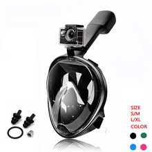 Máscara de buceo submarina Scuba Anti niebla Full Face Diving Mask Snorkel Set con antideslizante Anillo Snorkel