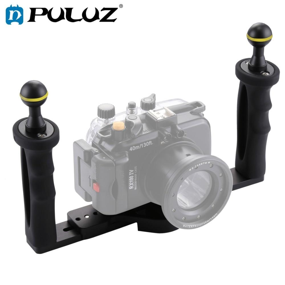 PULUZ двойная ручка алюминиевый лоток стабилизатор Rig для подводной камеры корпус Дайвинг камера лоток крепление для GoPro смартфон