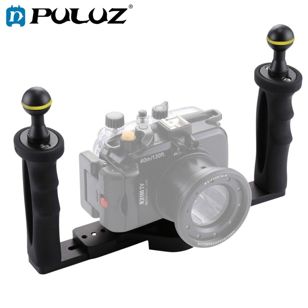 PULUZ Double Poignée En Aluminium Plateau Stabilisateur Rig pour Sous-Marine Caméra Logement Cas Plongée Caméra Plateau Mont pour GoPro Smartphone