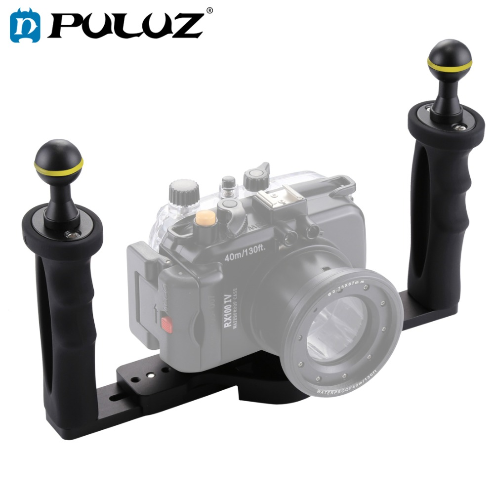 PULUZ Dual Handle Aluminium Tray Stabilizer Rig for Underwater Camera Housing Case Diving Camera Tray Mount for GoPro Smartphone-in Sports Camcorder Cases from Consumer Electronics    1