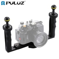 PULUZ Dual Handle Aluminium Tray Stabilizer Rig for Underwater Camera Housing Case Diving Tray Mount for GoPro DSLR Smartphones