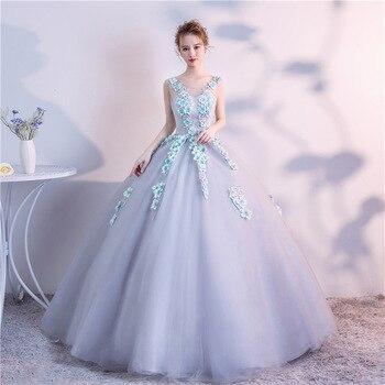 21e18391c 2019 primavera vestido De cuello redondo tul flores apliques vestidos De  quinceañera traje De Bal 15 dulce dieciséis Debutante vestidos