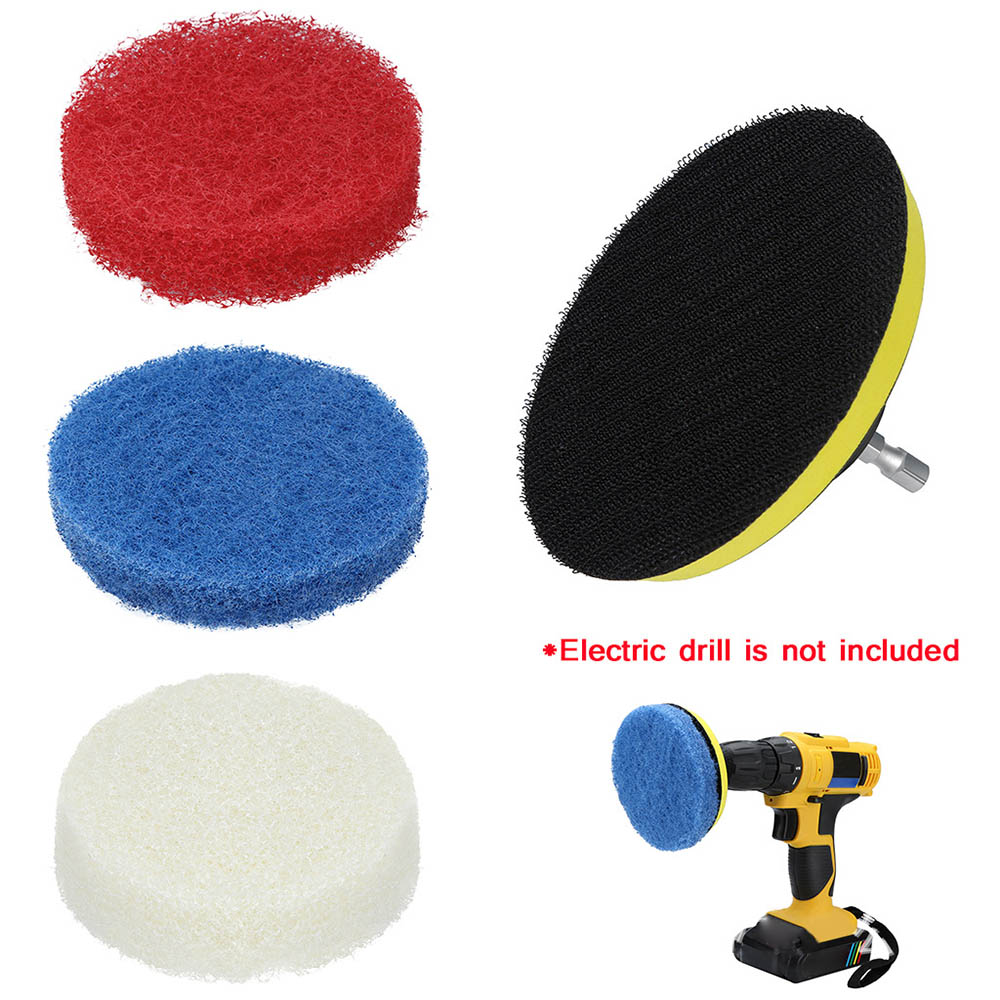 Waxing Kit 3x Pads + 1x Plate Car Polishing Tools Power Scrubber Electric Drill Plate Household Cleaning Sofa Bathroom Tile