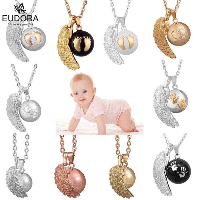 Eudora 1 pçs anjo asa bebê caller pingente colar moda gravidez bola jóias chime bola pingentes colares jóias presente
