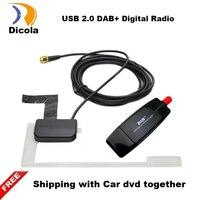 DAB için Araba Radyo Tuner Alıcı USB sopa DAB kutusu Evrensel Android Araba DVD DAB + anten usb dongle için Android araç dvd oyuncu