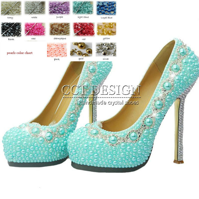2d52ce4eef5 Beautiful Woman Genuine Leather Light Blue Pearl Bling Rhinestone Bride  Cinderella Wedding Shoes Ladies Extreme High Heels Shoes