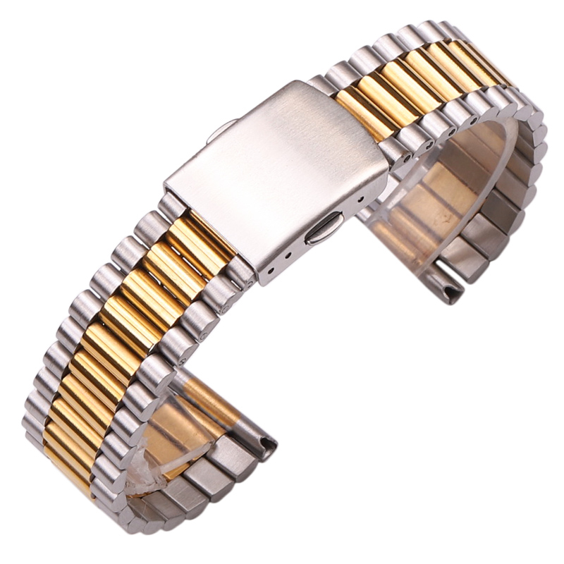 Stainless Steel Clock Bracelet Women Silver Gold Watcbands 12mm 14mm 16mm 18mm 20mm Metal Watch Strap Double ClaspStainless Steel Clock Bracelet Women Silver Gold Watcbands 12mm 14mm 16mm 18mm 20mm Metal Watch Strap Double Clasp