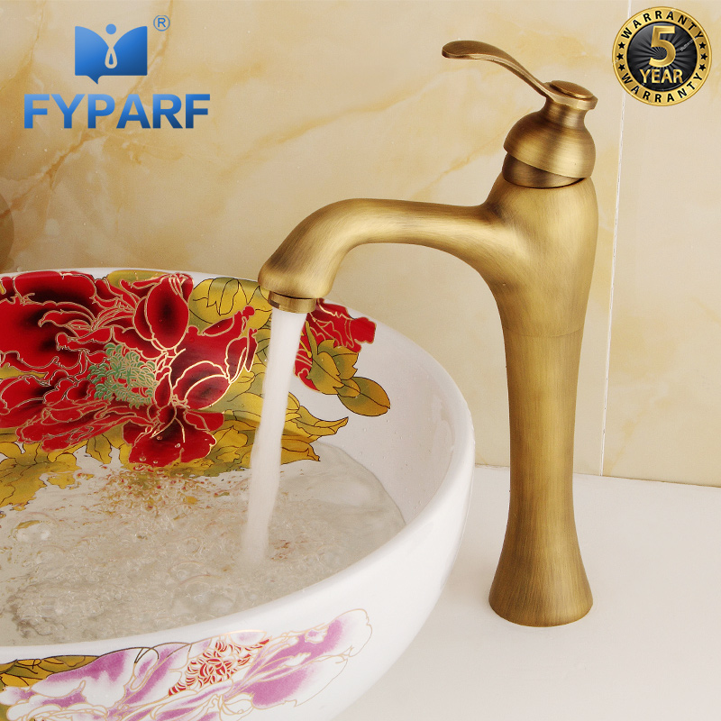 FYPARF Waterfall Bathroom Faucet Basin Mixer Deck Mount Brass Antique Bronze Faucet Single Handle Tall tap Mixer Basin Faucets
