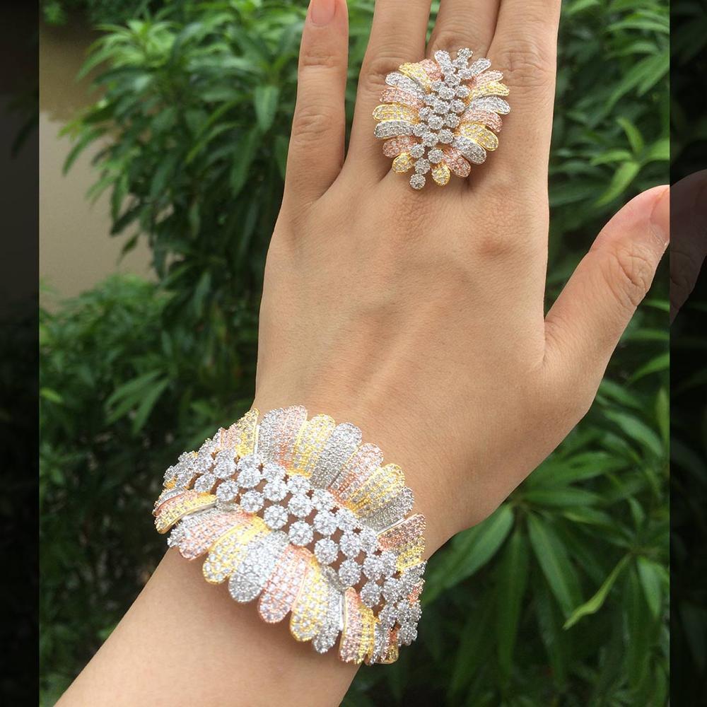 ModemAngel Fashion Luxury Super 3 Tone Boom Flowers AAA Cubic Zirconia Women Party Engagement Width Bracelet Bangle And Ring Set