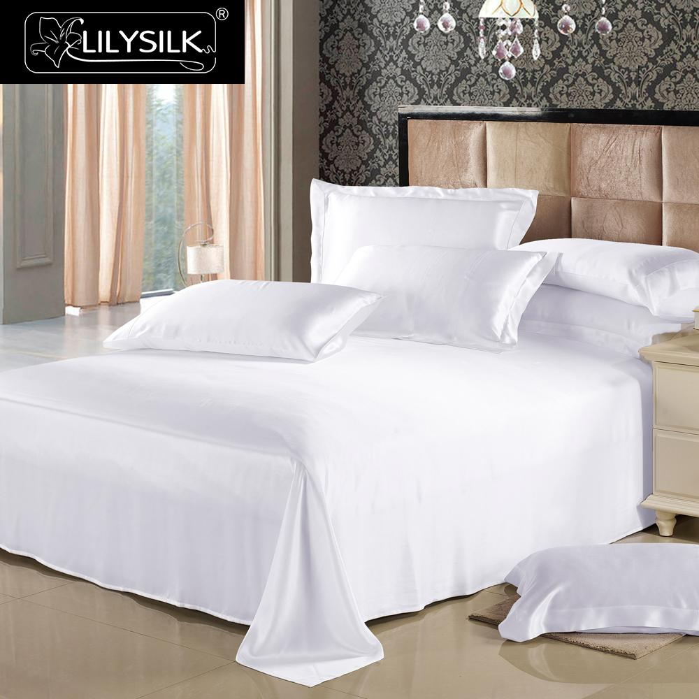 LilySilk Flat Sheet Silk Pure 100 Mulberry 25 momme Natural Silk Seamless Luxury bed king Home