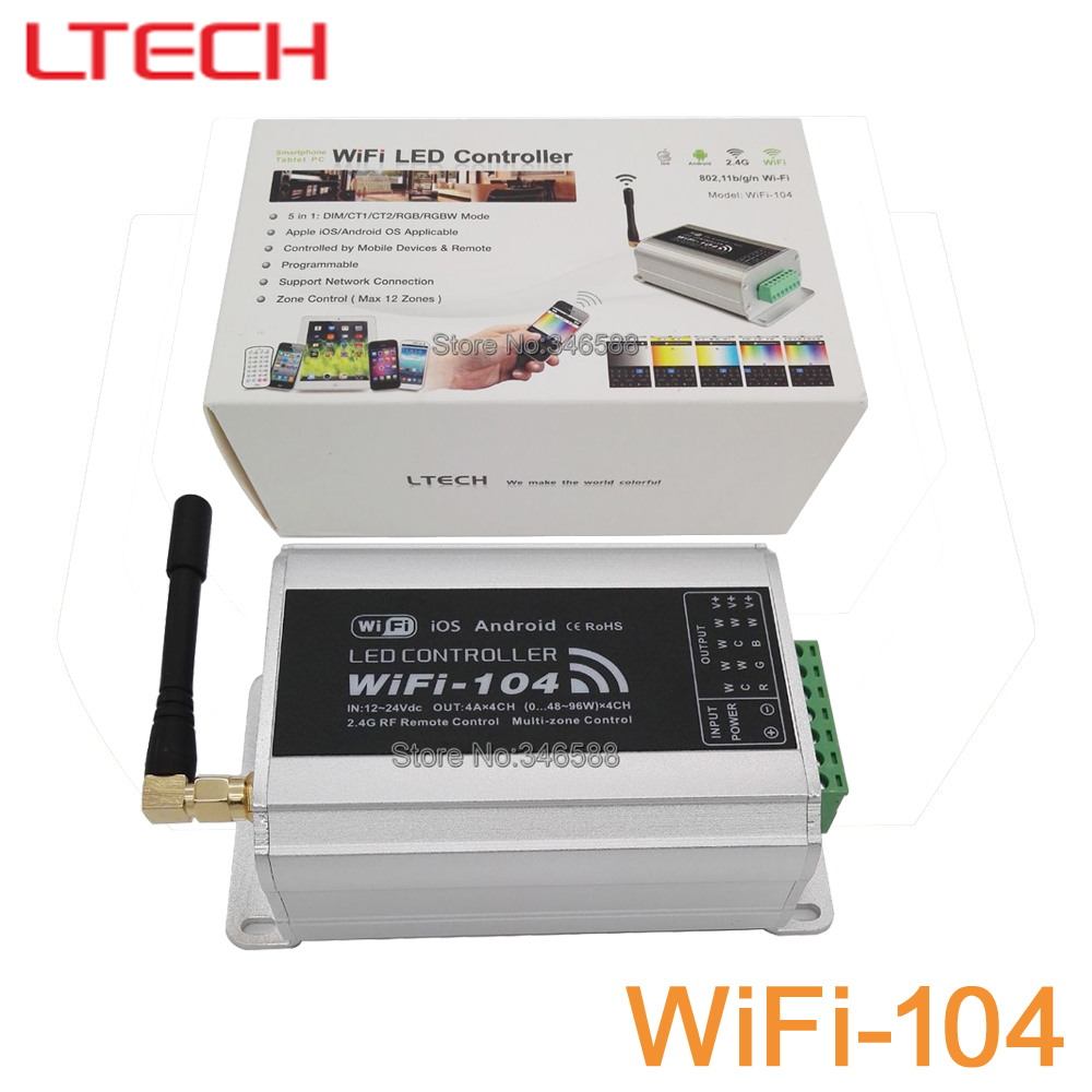 Ltech WiFi-104 LED WiFi Master Controller with M12 IR Wireless Remote 2.4GHz Support Max 12-Zones Control DC12V 24V 4Ax4CH 16A dmx512 digital display 24ch dmx address controller dc5v 24v each ch max 3a 8 groups rgb controller