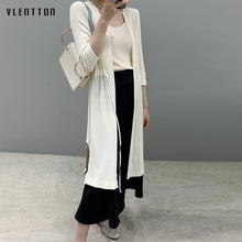 2019 Fashion Spring Summer Knitted Long Cardigan Women Casual 3/4 Sleeve Lacing Slim Solid Thin Outerwear