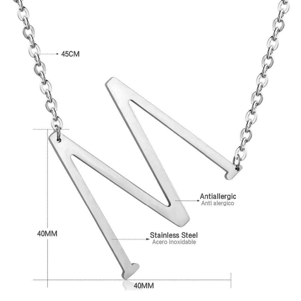 ASONSTEEL 5 Pcs/Lot 2019 Alfabet Initial Pendants Big A-Z Letter Necklaces Silver Stainless Steel Jewelry Kolye Collier femme