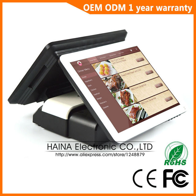Máquina de Terminal de punto de venta táctil de 15 pulgadas Haina Touch, máquina Pos de pantalla Dual para restaurante y tienda minorista