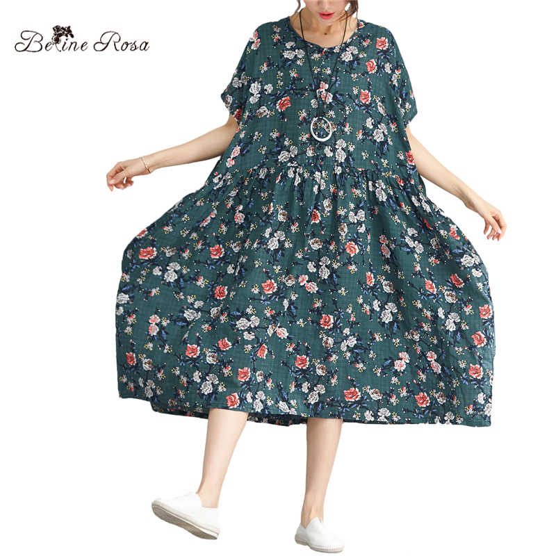 BelineRosa 2018 Women s Printed Dresses High Waist Short Sleeve Floral Printing  Holiday Ladies Large Size Dress 9b08122a60ab