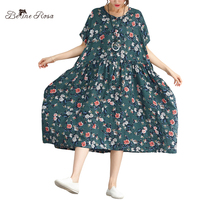 BelineRosa 2018 Women S Printed Dresses High Waist Short Sleeve Floral Printing Holiday Ladies Large Size