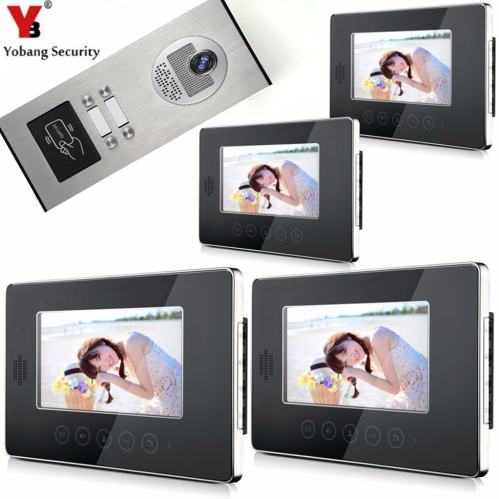 YobangSecurity Video Door Intercom Entry System 7Inch Video Door Phone Doorbell Chime RFID Access Control 1 Camera 4 Monitor yobangsecurity video door intercom entry system 2 4g 9 tft wireless video door phone doorbell home security 1 camera 2 monitor