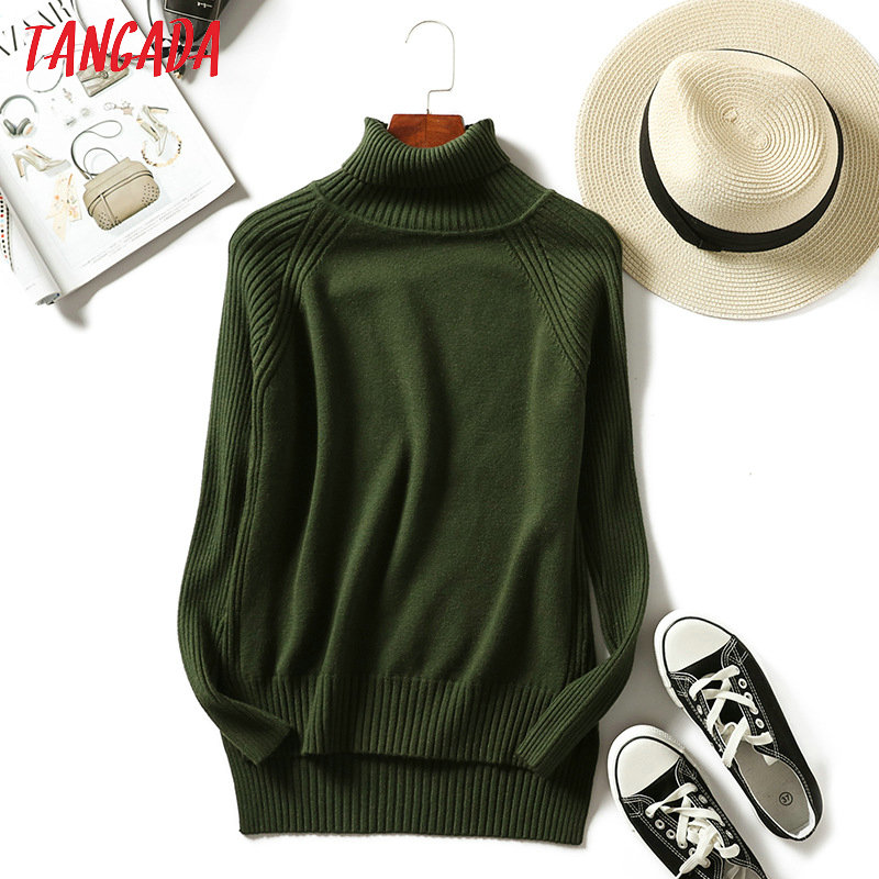Tangada Turtleneck Sweater Women Solid Jumper Casaco Feminino Tricot Female Pullovers Long Sleeve Knitwear Winter Clothes  AQX10