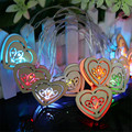 1.2M 10 leds wood heart LED Novelty Fairy String Fashion Holiday Lighting Battery Wedding indoor Decoration