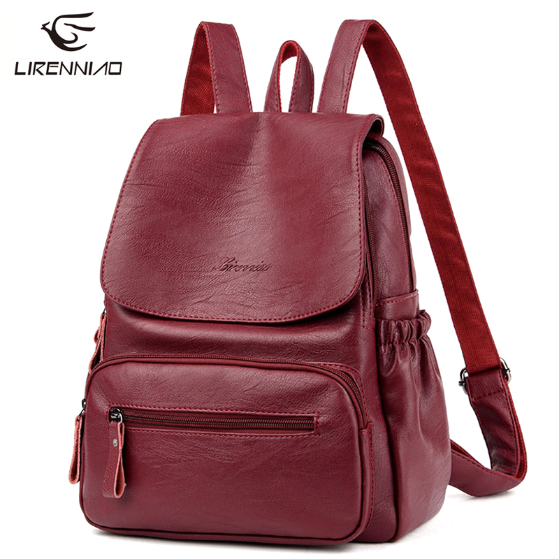 High Quality 2017 New Fashion Leather Backpack Preppy Simple Style Women Brand Ladies Backpacks Teenage Girls Casual School Bag soft pu leather ladies red backpack high quality brown shoulder bags backpacks for teenage girls preppy style travel school bag