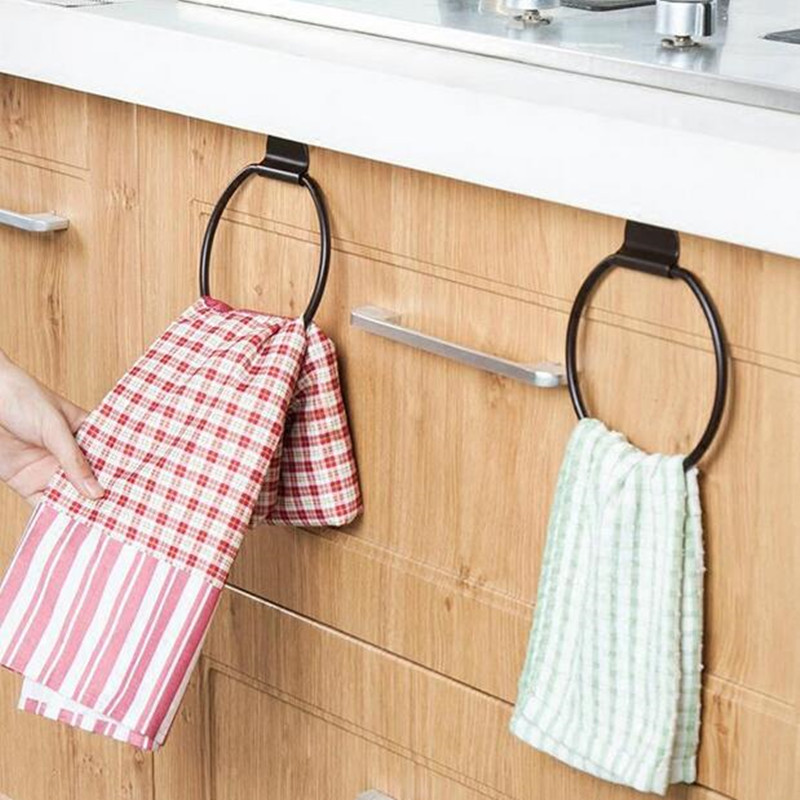 Iron round Cabinet Cupboard hanging towel holder over door rack scouring pad storage shelf Bathroom Kitchen Accessories