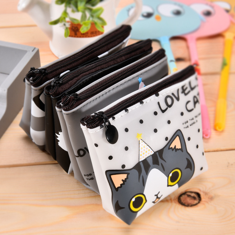 2017 Korean version of the girls cat coin purse waterproof headphone clutch bag animal Kids Zipper Change Wallet Card Holder