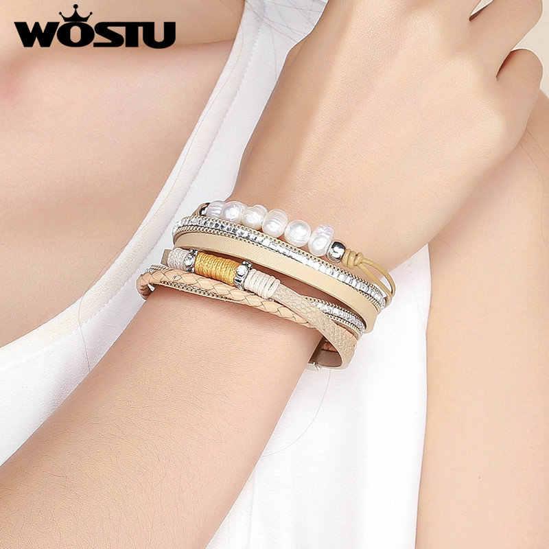 WOSTU 2019 Vintage skóra wielowarstwowa perły bransoletka z paskiem dla kobiet mężczyzn Party Chain Link bransoletka biżuteria ZBC0363