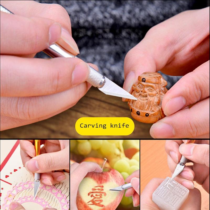 5pcs Blade Mobile Phone PCB DIY Repair Manual Tool + Non-slip Metal Scalpel Tool Set Tool Carving Tool Edc Knife