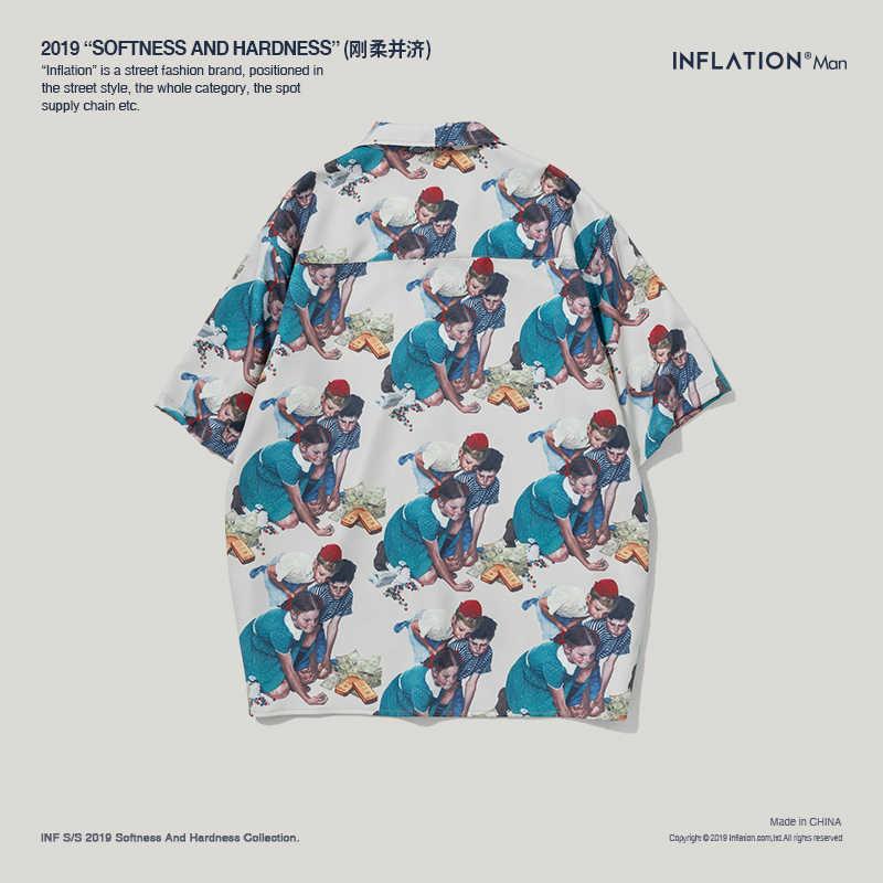 インフレ 2019 SS コレクションメンズ半袖ビーチアロハシャツ子供プリントおかしいシャツ特大ヒップホップシャツ 9236 S