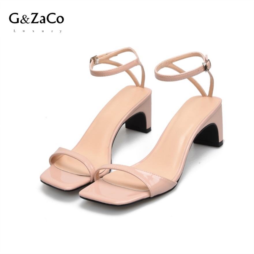 G&Zaco Luxury 2018 Summer Patent Leather Thick Heels High Sandal Square Head Female Foot Sandals Mid Heel Ankle Strap Sexy Pumps women chic champagne patent leather sandals square thick high heels pumps covered heel single strap gladiator shoes golden pumps